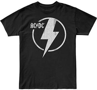 The Original Retro Brand Kids Acdc Raw Edge Slub Slightly Cropped Tee (Big Kids) (Black) Girl's Clothing