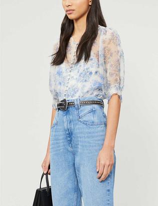 The Kooples Sheer floral silk top