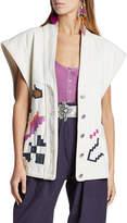 Isabel Marant Embroidered Denim Vest