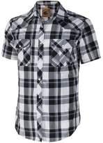 Coevals Club Men's Casual Plaid Snap Front Short Sleeve Shirt (White / black , XL)