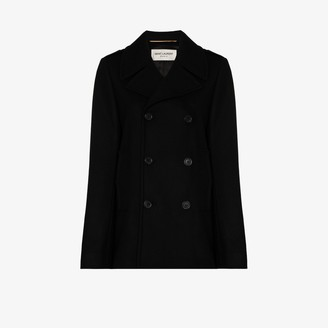 Saint Laurent Double-Breasted Wool Peacoat