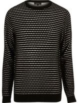 River Island MensBlack textured knitted sweater