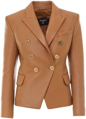 Balmain Double Breasted Leather Blazer