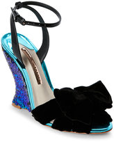 Sophia Webster Black Melissa Iridescent Sequin Wedge Sandals