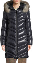 Moncler Fulmar Hooded Puffer Coat w/ Removable Fur Trim