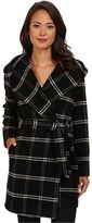 Lauren Ralph Lauren Windowpane Plaid Hooded Wrap Coat