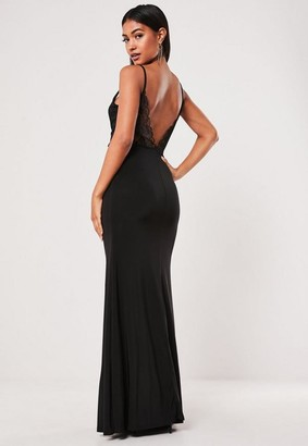 Missguided Black Slinky Lace Back Strappy Maxi Dress