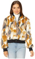 Cupcakes And Cashmere Sia Patch Work Faux Fur Bomber Jacket (Multi) Women's Clothing
