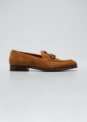 Ermenegildo Zegna Men's Cigar Suede Tassel Loafers