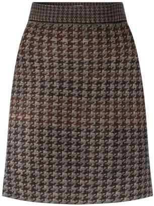 Studio Myr Knitted Knee Length Pencil Skirt In Pieds-De-Poule Pattern Tweed-Raven