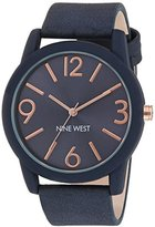 Nine West Women's Quartz Watch with Blue Dial Analogue Display and Navy Polyurethane Strap NW/1930BLRG