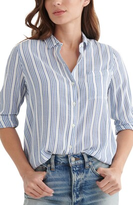 Lucky Brand Stripe Cotton Blend Button-Up Shirt