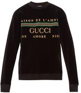 Gucci - Logo Embroidered Cotton Blend Sweatshirt - Mens - Black