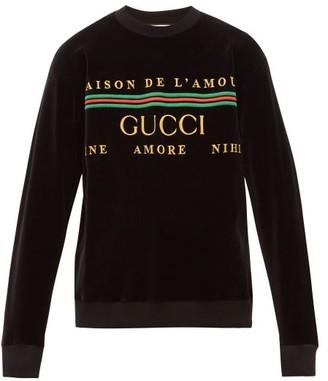 Gucci Logo-embroidered Cotton-blend Sweatshirt - Black