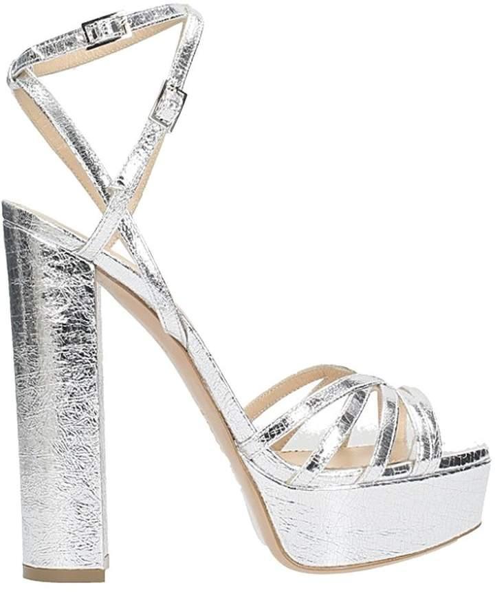 Lerre Plateau Crackle Silver Sandals