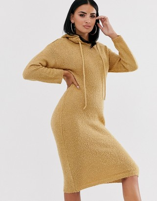 Asos Design DESIGN hooded midi dress in borg yarn-Stone