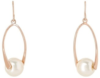 Gregory Ladner Oval Metal Drop With Faux Pearl Earrings Ger7951M