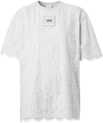 Burberry lace overlay T-shirt