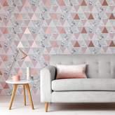 Graham & Brown Rose Gold Reflections Geometric Wallpaper