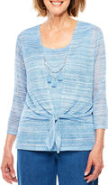 Alfred Dunner Indigo Girls 3/4 Sleeve Tie-Dyed Layered Top