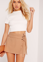 Missguided Double Tie Skort Shorts Camel