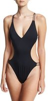 Milly Hvar Italian Solid Strappy Backless One-Piece Swimsuit, Black