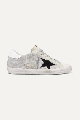 Golden Goose Super Star Mesh And Distressed Leather Sneakers - Light gray