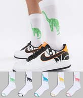 Asos Design Socks With Dinosaur Design 5 Pack
