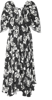 ADAM by Adam Lippes Floral Silk Crepe Flutter Sleeve Dress