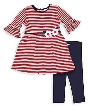 Florence Eiseman Little Girl's Cerise Two-Piece Striped Dress & Solid Legging Set