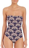 OndadeMar One-Piece Dancing Blue Strapless Swimsuit