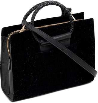 Radley Arlington Court Hoop Sparkle Velvet Cross Body Bag - Black
