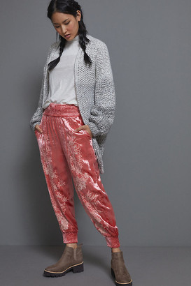 Anthropologie Rosie Embroidered Velvet Joggers By in Pink Size XS