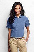 Lands' End Women's Regular Short Sleeve French Cuff Stretch Shirt-Black