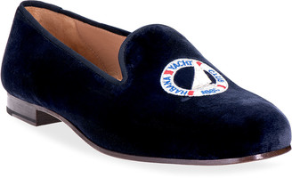 Stubbs And Wootton Yacht Logo Embroidered Velvet Smoking Loafers