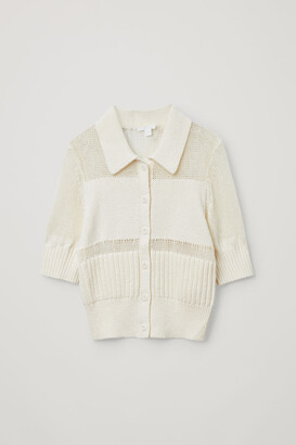 Cos Organic Cotton Mesh Panel Knitted Top