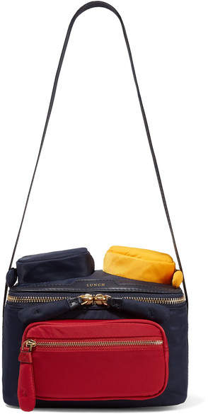 Anya Hindmarch Chubby Color-block Leather-trimmed Shell Shoulder Bag - Navy