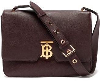 Burberry Tb Monogram Grained-leather Cross-body Bag - Burgundy
