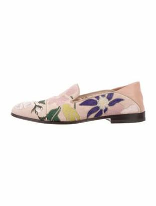 Alexander McQueen Suede Floral Print Loafers Pink