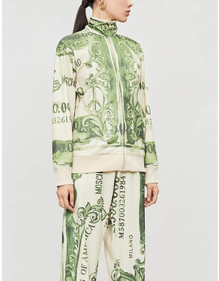 Moschino Money-print zip-up jersey jacket