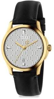 Gucci G-Timeless Goldtone PVD& Leather Strap Watch