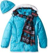 Pink Platinum Little Girls' Snowflake Puffer with Hat and Scarf