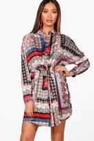 boohoo Jess Scarf Print Tie Waist Shirt Dress