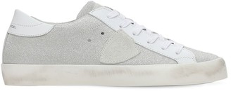 Philippe Model Paris Glittered Leather Lace-Up Sneakers