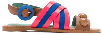 Blue Bird Shoes Striped Crossover Sandals