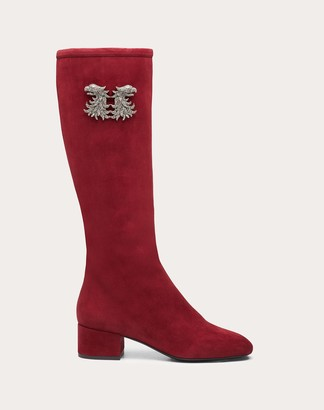 Valentino Grifoni Suede Boot 45 Mm Women Cherry Lambskin 100% 36