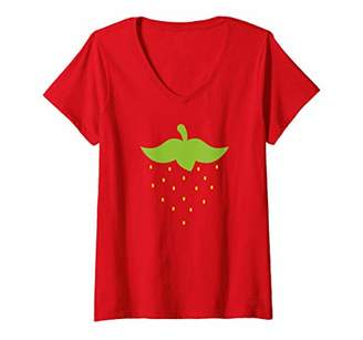 Womens Strawberry Fun Fruit Berry Halloween Costume V-Neck T-Shirt