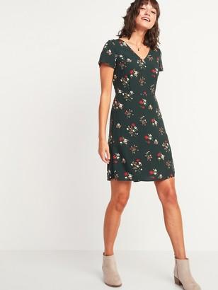 Old Navy Floral-Print Fit & Flare Smocked-Back V-Neck Dress for Women
