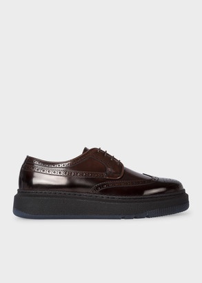 Men's Dark Brown 'Nash' Leather Brogues With Rubber Soles