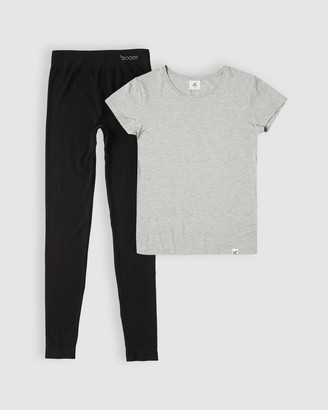 Boody Organic Bamboo Eco Wear Light Grey Marl Crew-Neck Tee and Full Leggings